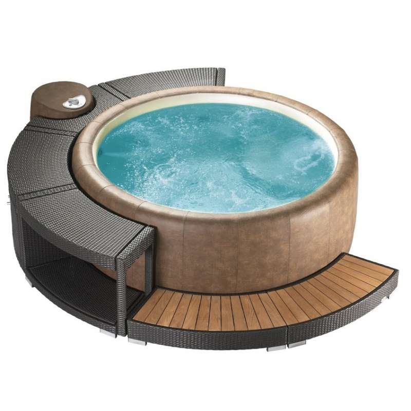 Softub Whirlpool Modell Legend 220 inkl Poly Rattanumrandung 5/8 Version mocca