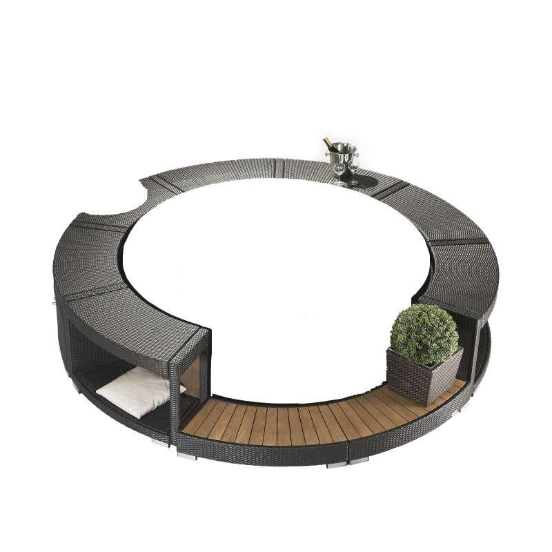 Softub Poly Rattanumrandung inkl Einstieg mocca für Whirlpool Resort 300