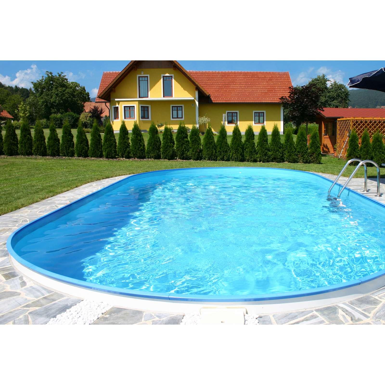 Pool Schwimmbecken OVAL Stahlwand 4 Größen Höhe 150 cm Swimmingpool