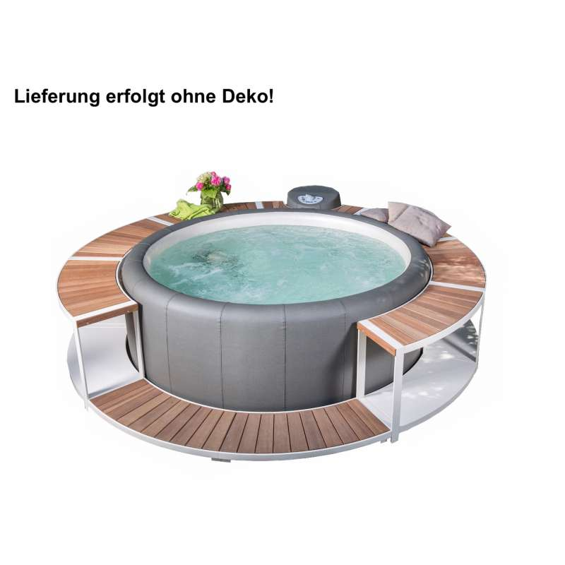 Softub Whirlpool Poseidon® graphite inkl Stausee Umrandung mit Einstieg Creme