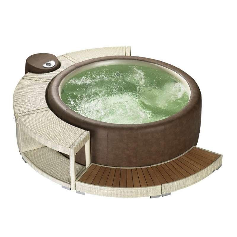 Softub Whirlpool Resort 300 inkl Poly Rattanumrandung 5/8 Version white chocolate