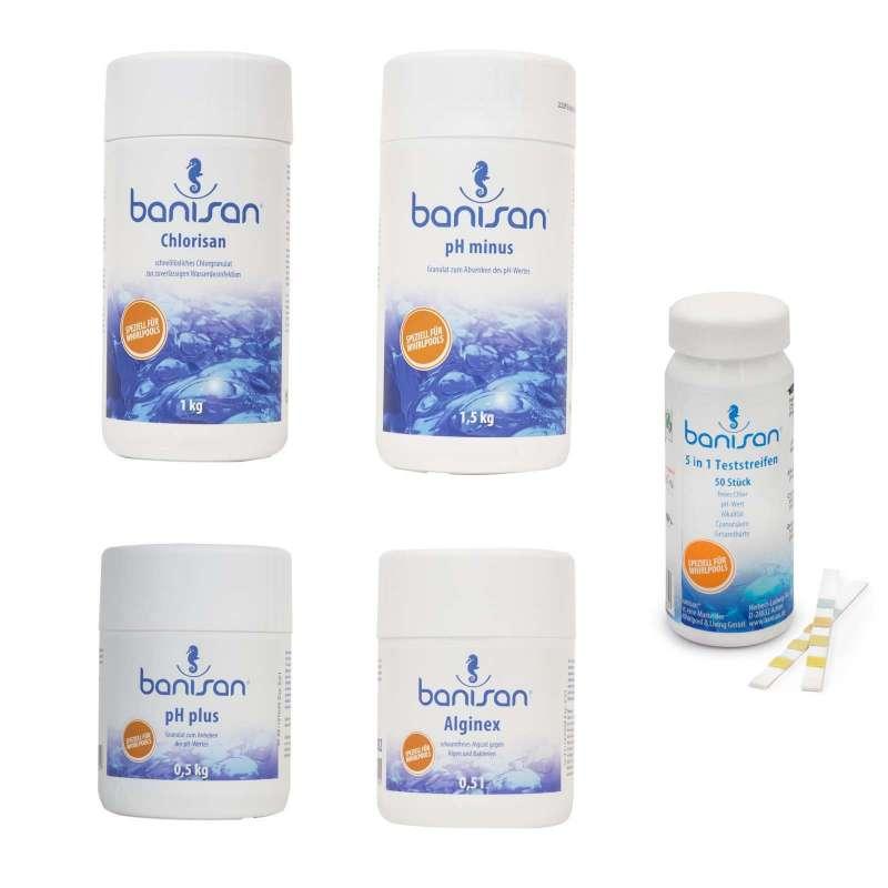 Banisan Wasserpflegeset Chlorisan pH Minus pH Plus Alginex inkl. Teststreifen
