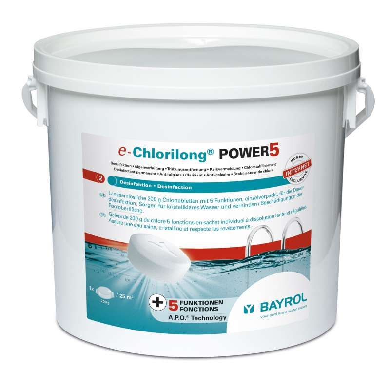 Bayrol e-Chlorilong Power 5 Multifunktionstablette à 200 g Chlordesinfektion 5 kg