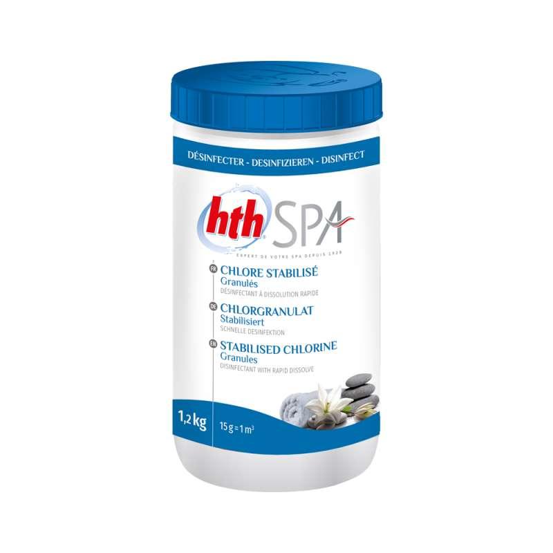 hth Spa Chlorgranulat stabilisiert 1,2 kg zur Whirlpool Desinfektion für Whirlpools und Spas