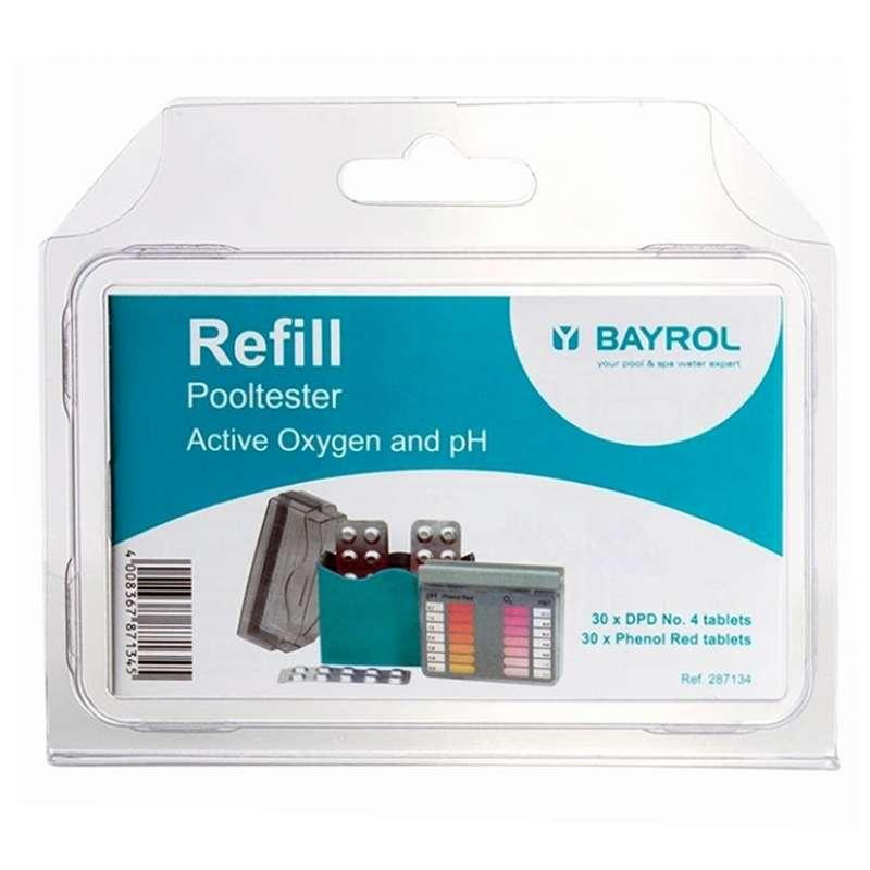Bayrol Nachfüllpackung für Pooltester pH/O2 pH Wert und Aktivsauerstoff 2 x 30 Tabletten