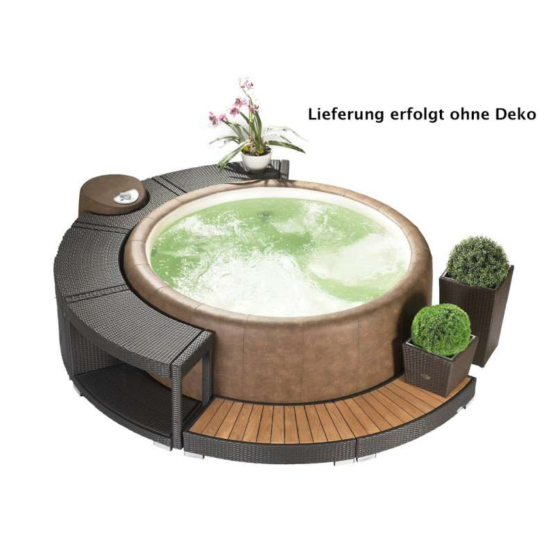 Softub Whirlpool Modell Resort 300 inkl Poly Rattanumrandung 5/8 Version mocca